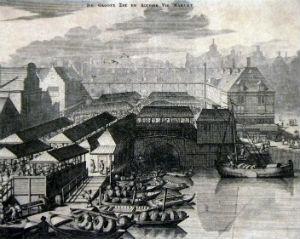 Dam en vismarkt gezien vanaf het Damrak