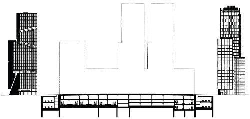 Oude plan Zuidas Dok - gestapelde A10-rijbanen