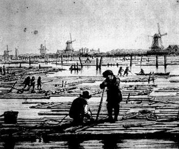 Zaagmolens en houttransport bij de Kostverlorenvaart